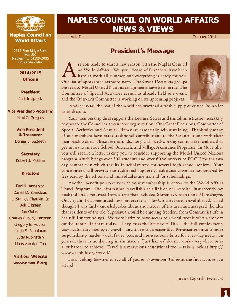 NCWA October 2014 Newsletter Page 1